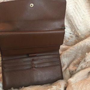 Bags - Medium Brown Wallet.  Logo Print.